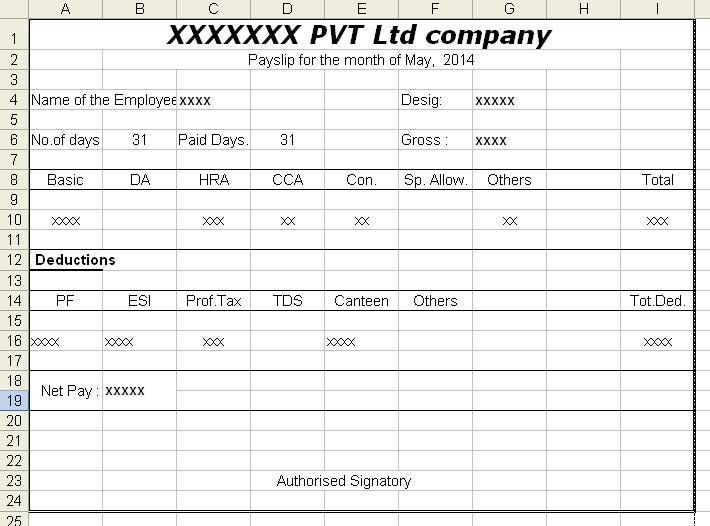Salary Voucher Format in Excel Free Download | citehrblog