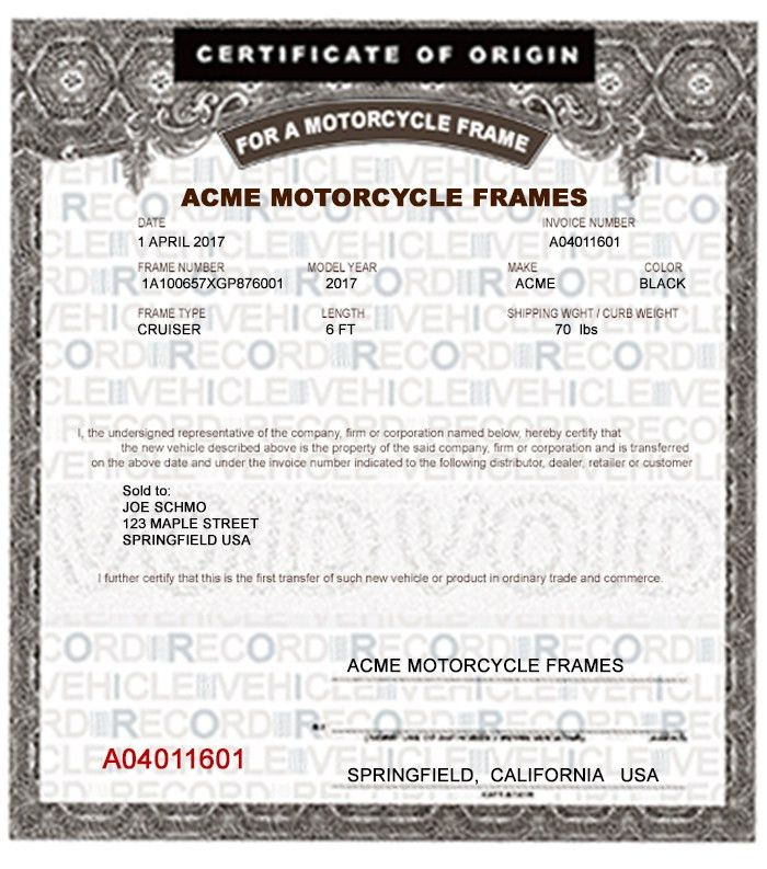 MOTORCYCLE FRAME MCO MSO