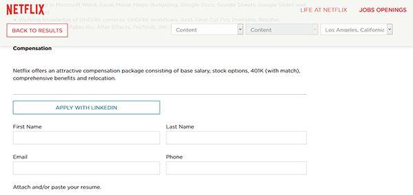 Netflix Job Application - Apply Online