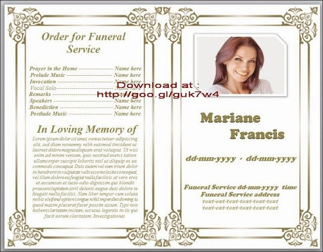 Traditional Free Obituary Template For Funeral In Microsoft Word ...