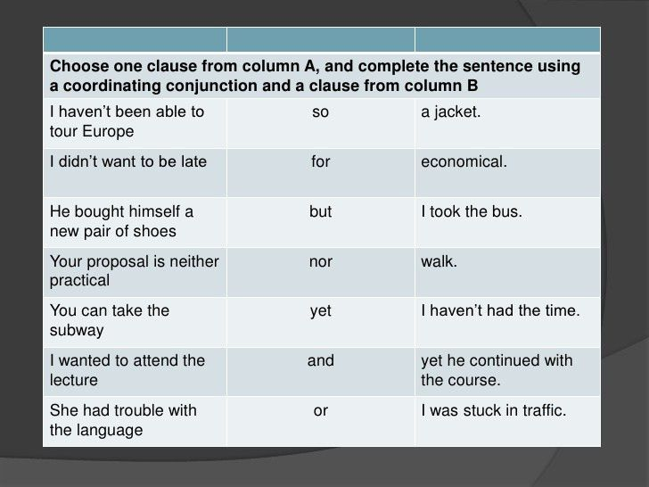 Coordinating conjunctions pre ac