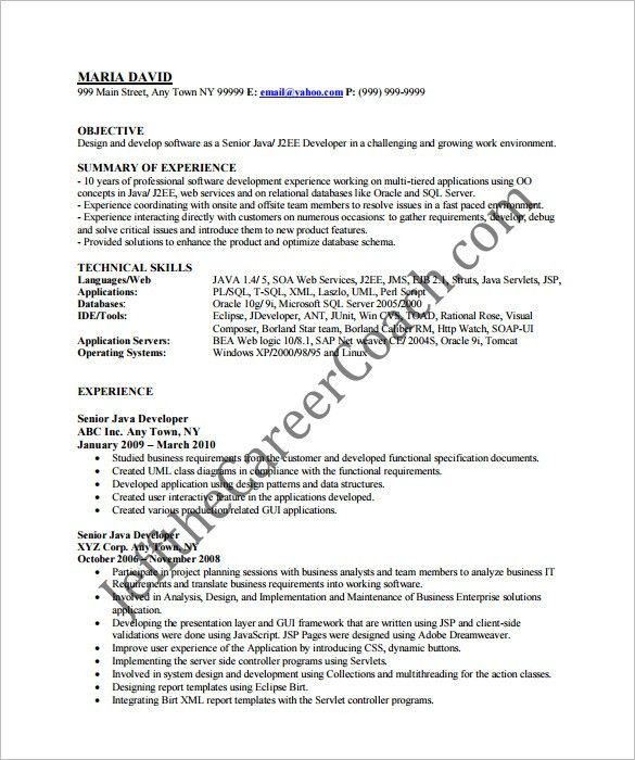 Java Developer Resume Template – 14+ Free Samples, Examples ...