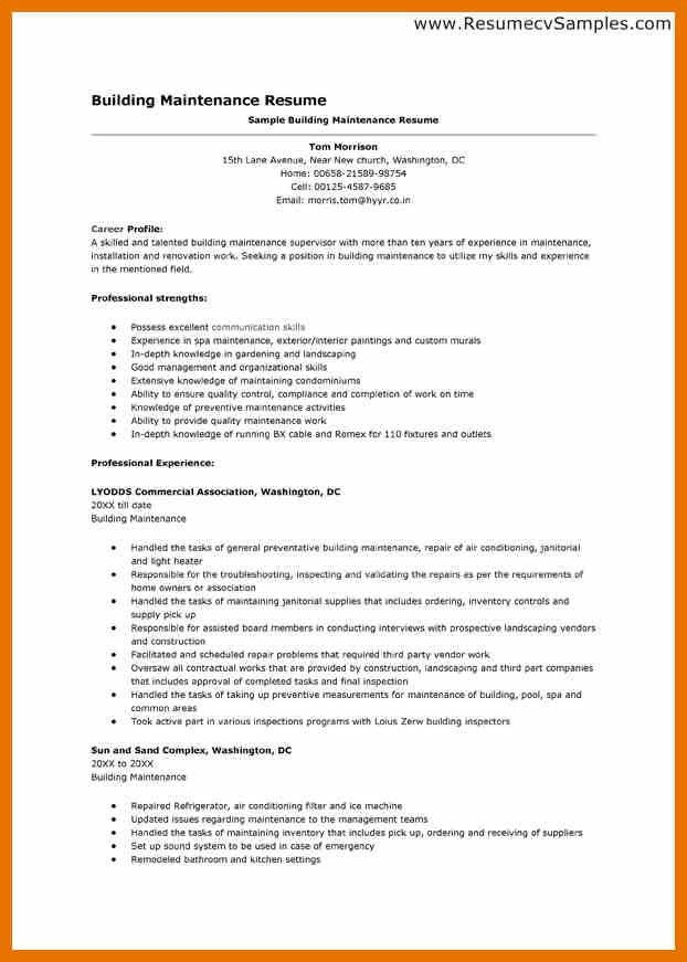 building maintenance resume sample