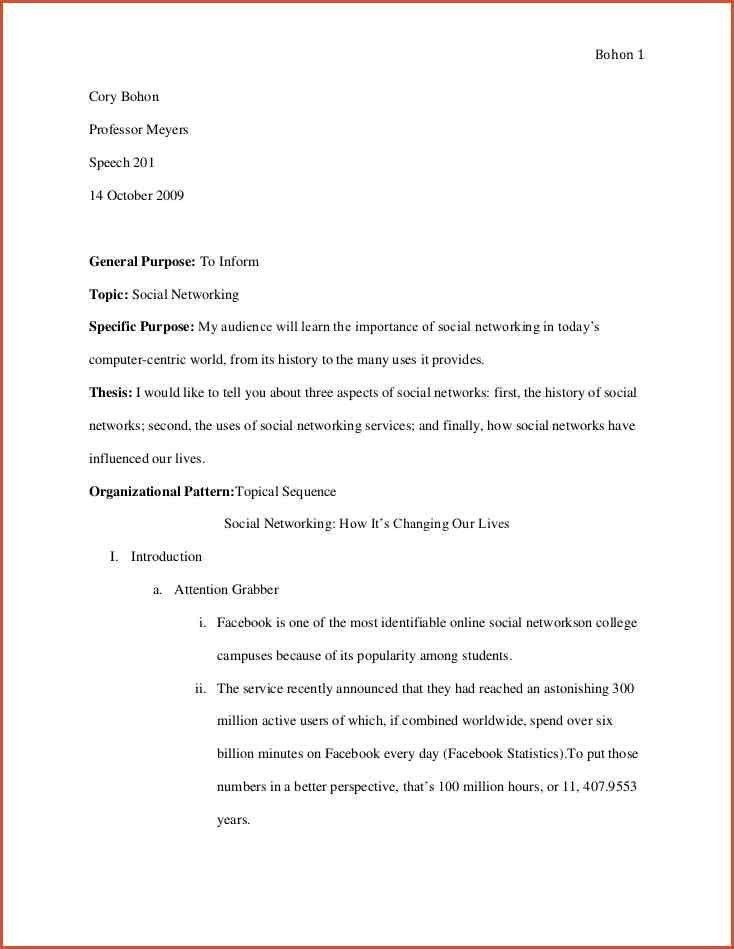 INFORMATIVE SPEECH OUTLINE EXAMPLES.social Networking Informative ...