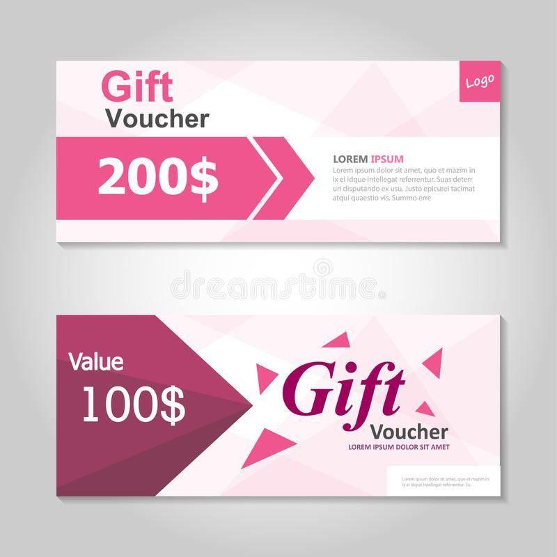 Cute Pink Gift Voucher Template Layout Design Set, Certificate ...