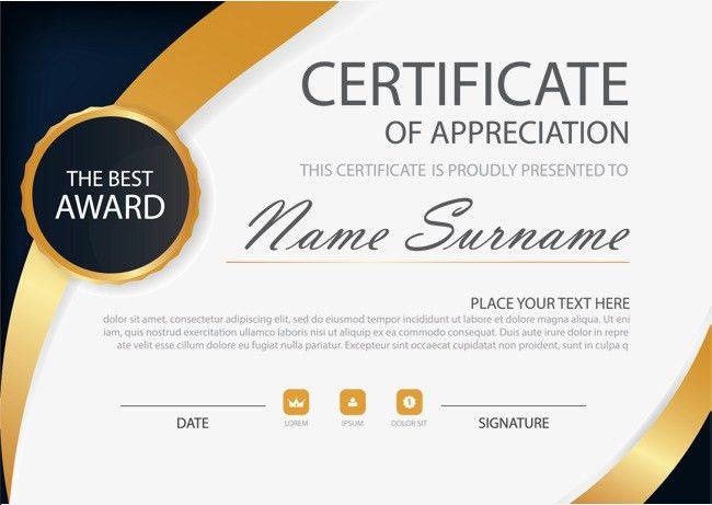 Gold black high-end air certificate, Certificate Template ...