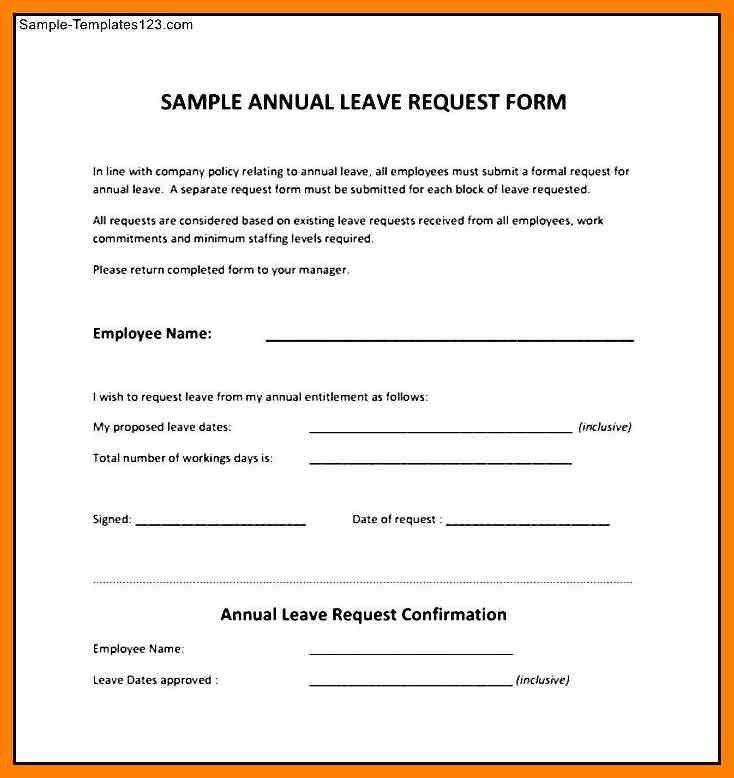 Sample Vacation Request Form. Free Vacation Request Forms With ...