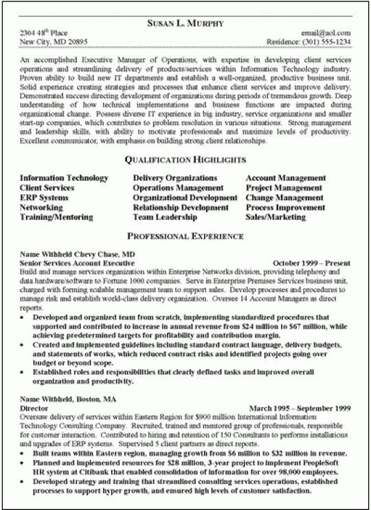 Executive Resume | Free Resumes Tips