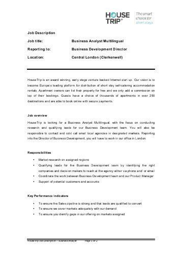 Business Development Job Description. Job Description Applications ...