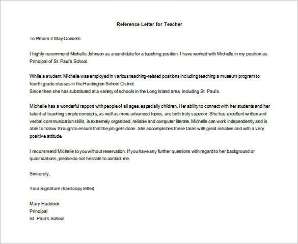 Letter of Recommendation for Teacher – 9+ Free Word, Excel, PDF ...
