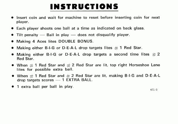 Pinball Instruction & Pricing Cards at www.pinballrebel.com