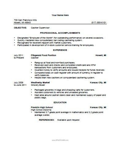 resume for cashier berathen com. resume duties of restaurant ...