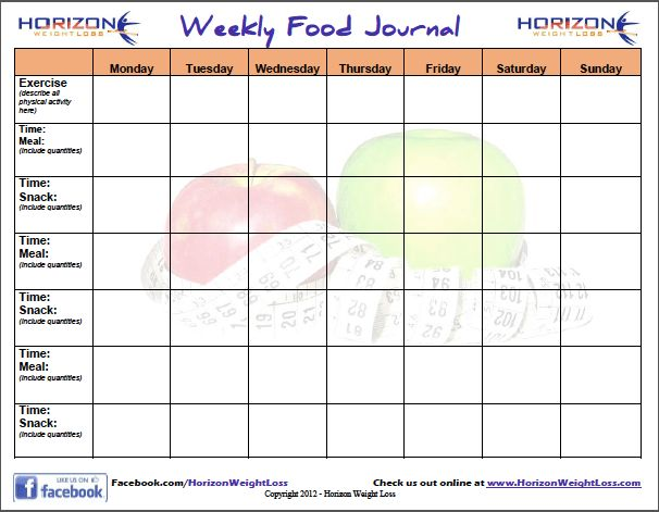 Food Journal - Download and Track Your Calories - Horizon Weight Loss