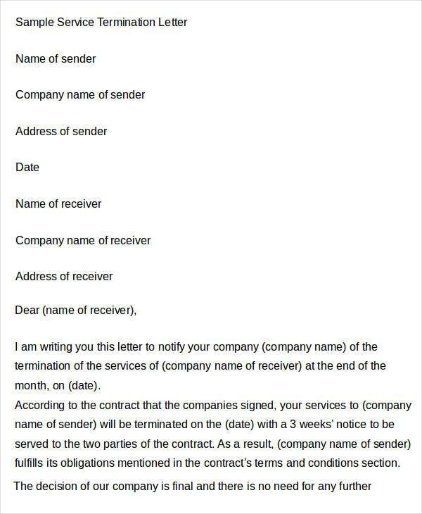 Sample Termination Letter Template - 28+ Free Word, PDF Documents ...