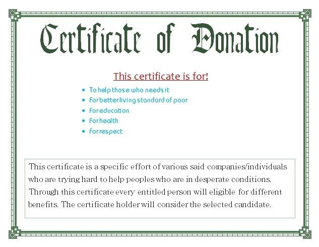 Certificate for Donation Template | Free Business Templates