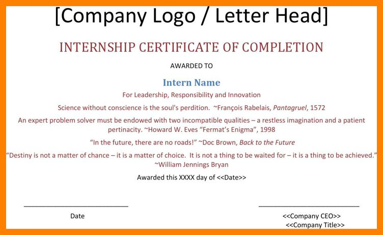 3+ certificate of internship completion template | joblettered