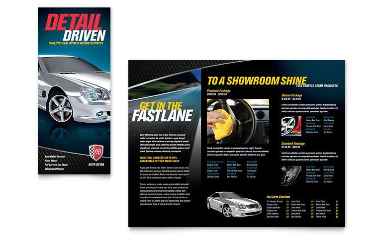 Auto Detailing Tri Fold Brochure Template - Word & Publisher