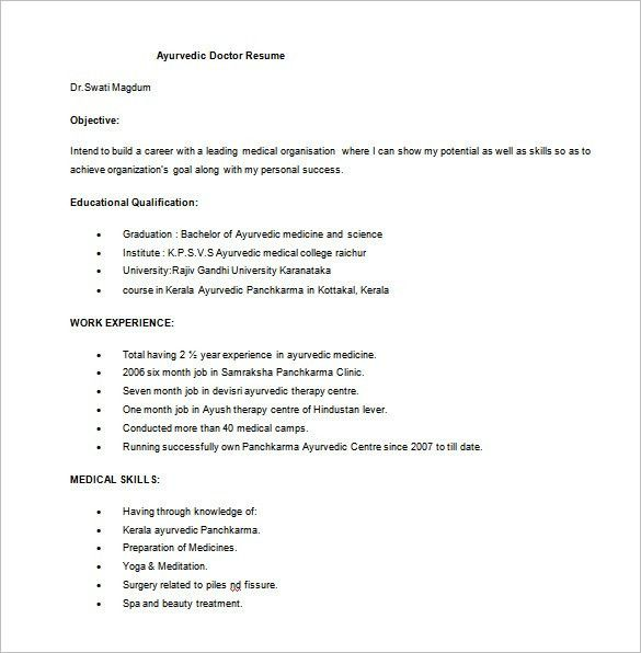 Doctor Resume Template – 16+ Free Word, Excel, PDF Format Download ...