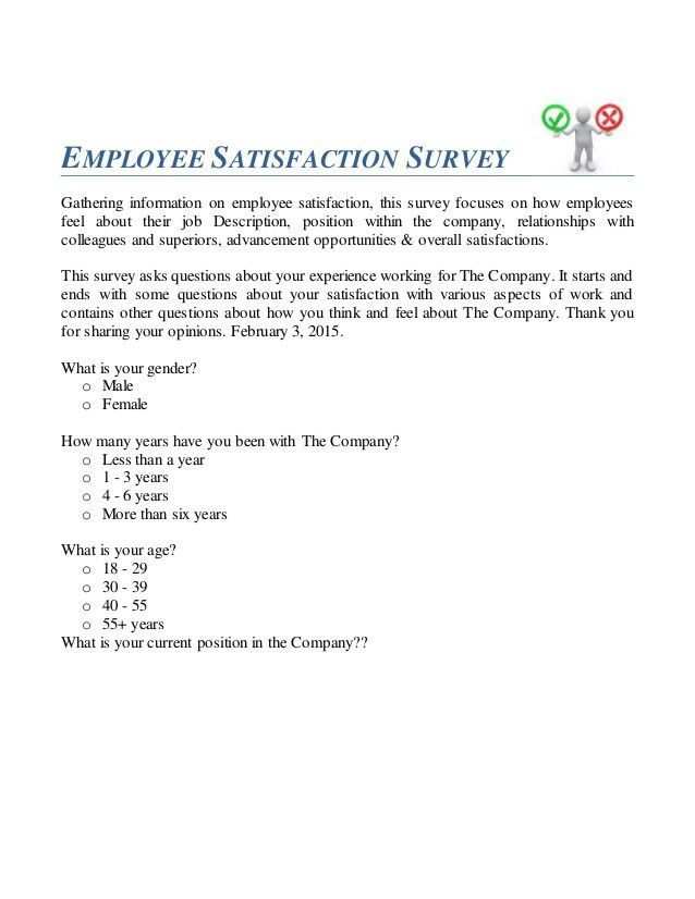 Sample Employee Satisfaction Survey. Cover Letter Survey Cover ...