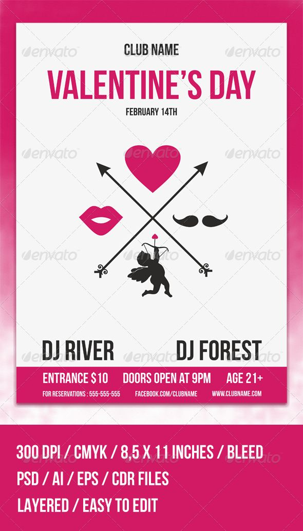 Hipster Valentine's Day Flyer Template | Flyer template ...