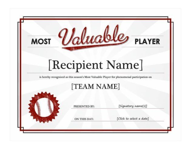 Baseball MVP Prize Winner Certificate of Award Template Sample ...