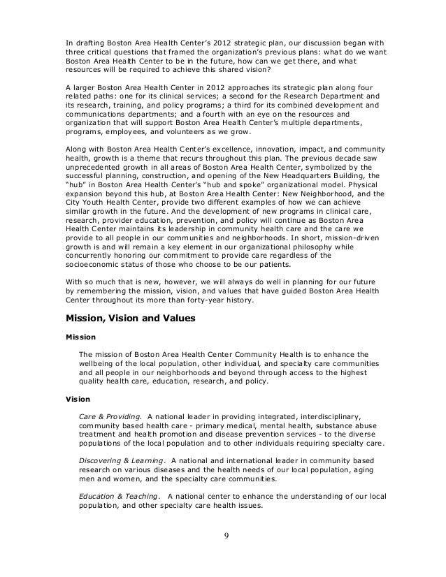 SAMPLE Health Center Strategic Plan, June, 2012