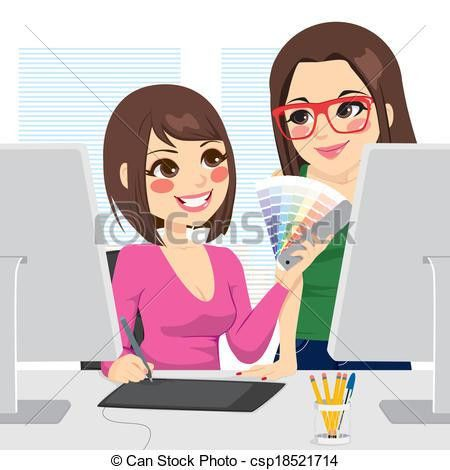 Vector Clip Art of Graphic Designer And Assistant - Beautiful ...