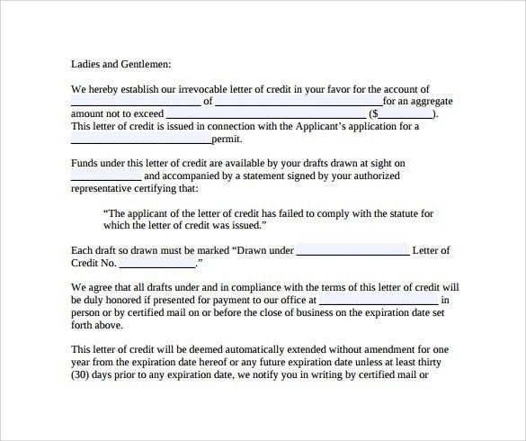 10+ Sample Letter Of Credit - Sample Letters Word
