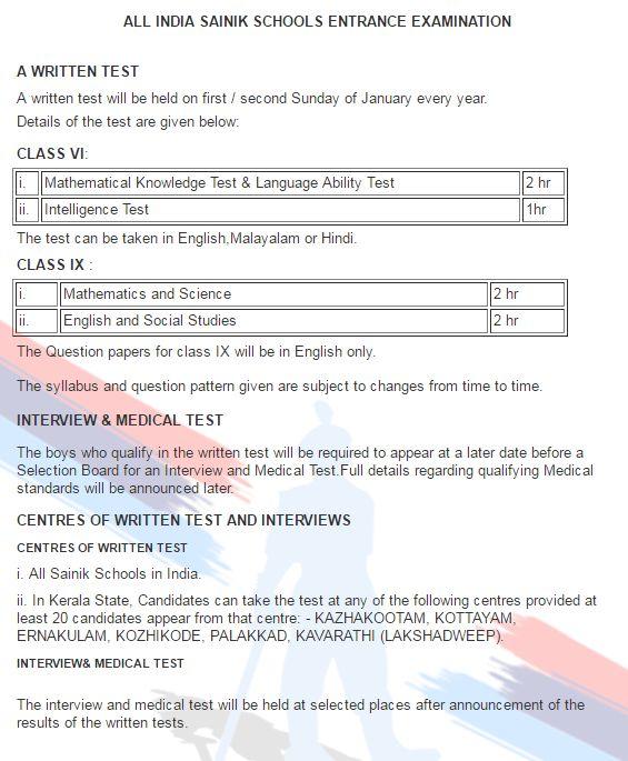Sainik School Admission 2017 Entrance Exam Class 6-9 Online Form