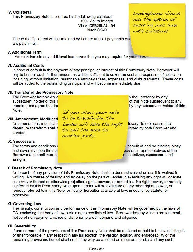 Sample Loan Agreement - LendingKarma