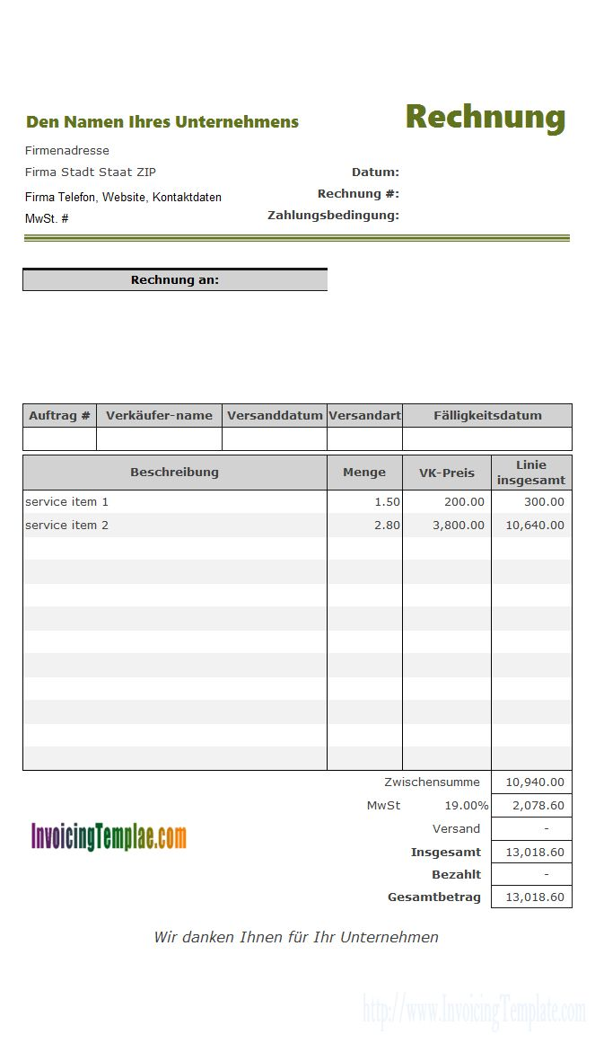 Service Billing Template for Germany