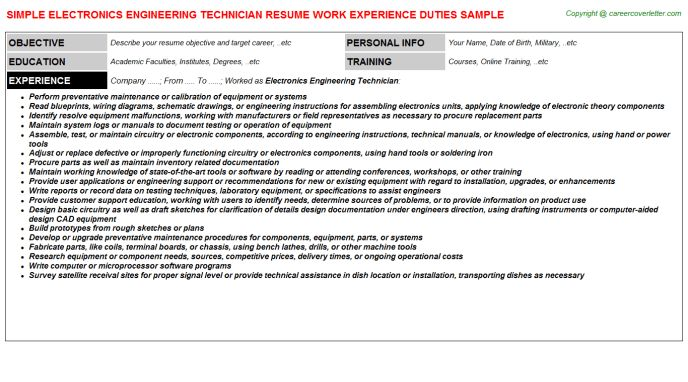 engineering technician resumes