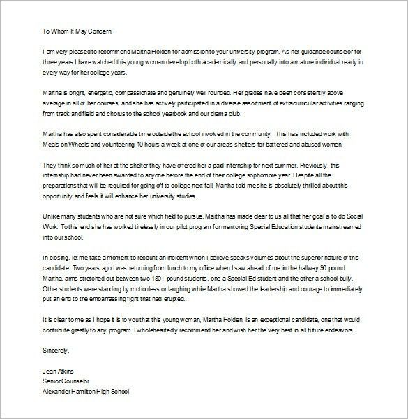 formal letters of recommendation