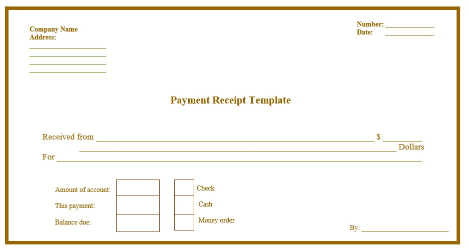 blank receipt template word