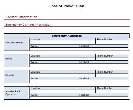 LoPP Peek Plan Template Emergency Contact - Micro-Biz Disaster ...