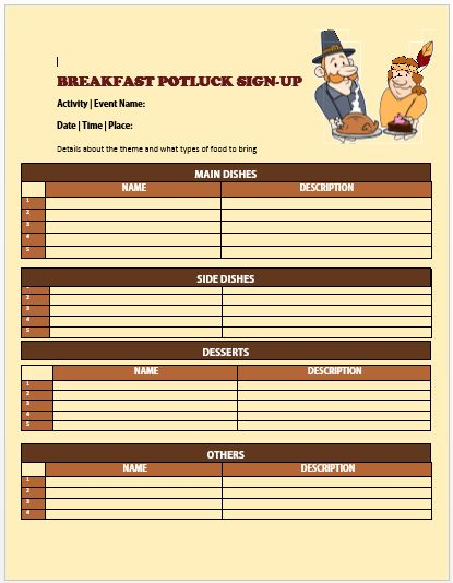 13+ Charming Breakfast Potluck Sign Up Sheets : Free Word ...