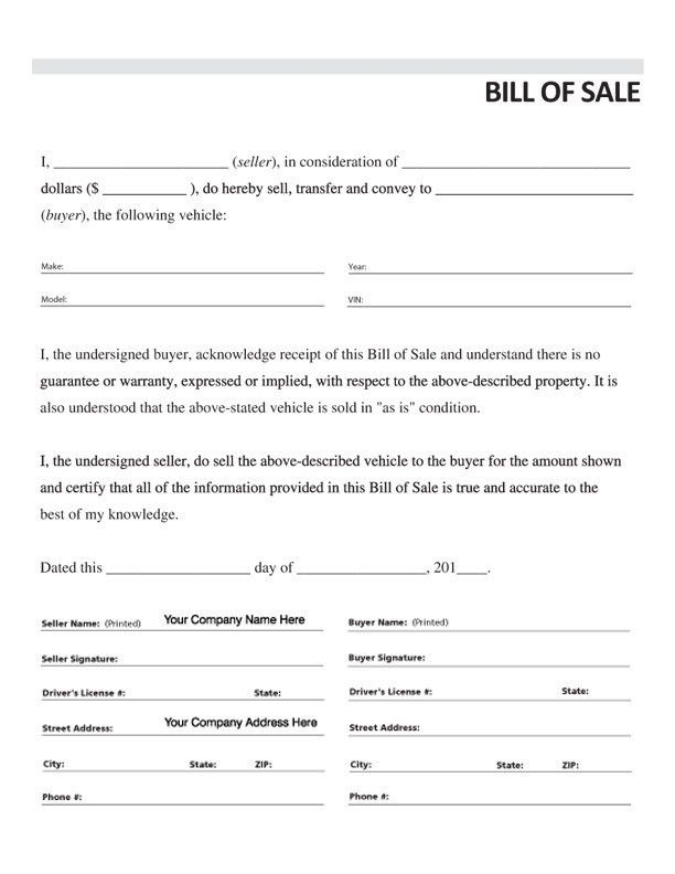 Vehicle Bill of Sale, Form #3, Item #7833 - Standard Forms