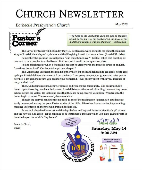 Sample Church Newsletter - 9+ Documents in PDF