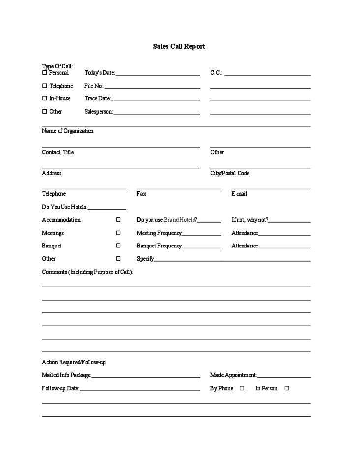 Sample Sales Call Report Template Free Download