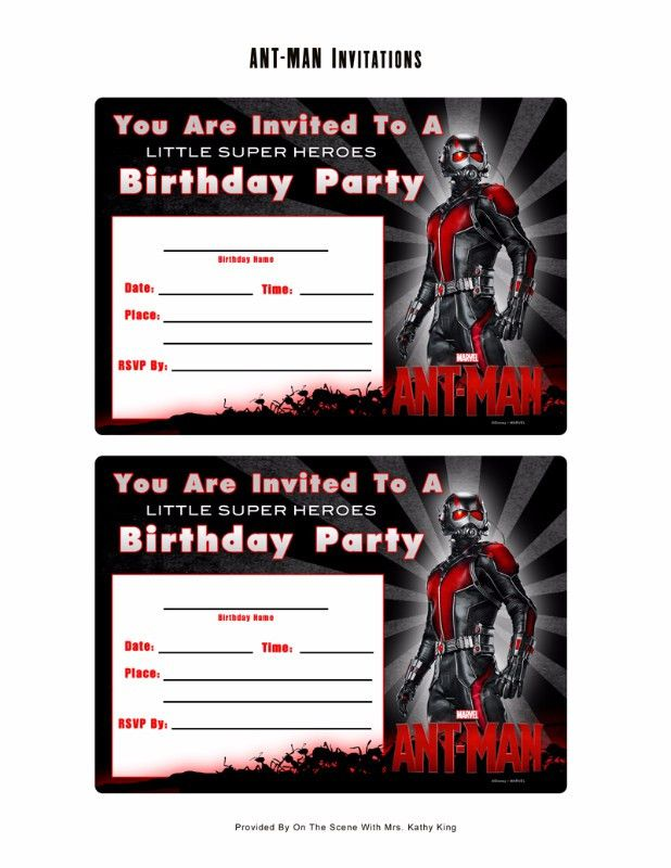 Free Marvel Ant-Man Printable Birthday Invitation Templates ...