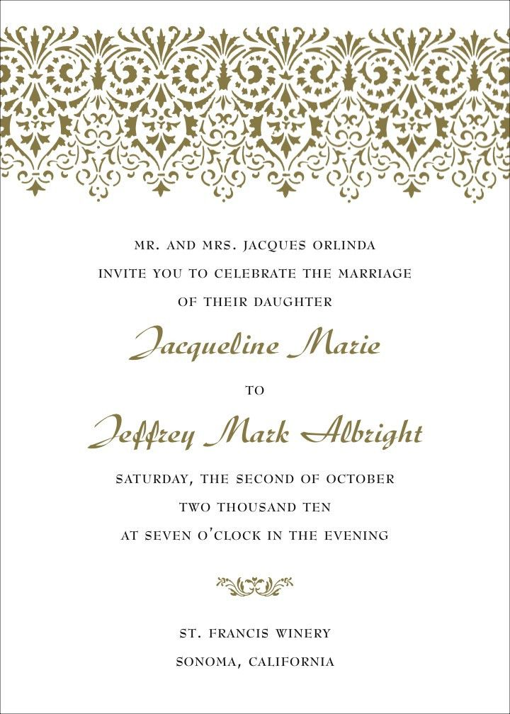 Wedding Invitation Sample Wording | THERUNTIME.COM