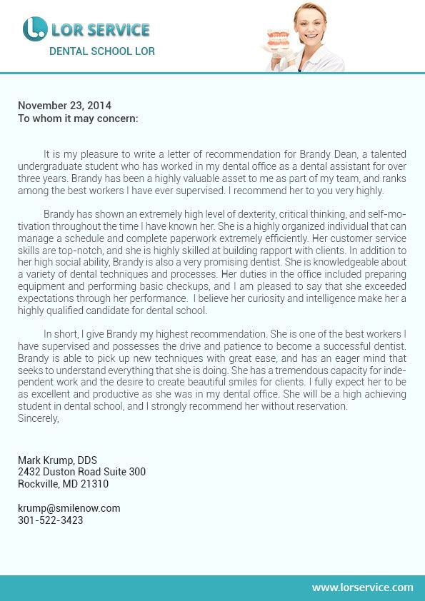 Letter of Recommendation for Dental School Writing Service | LOR ...