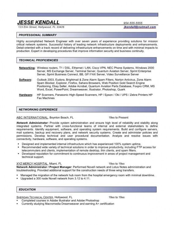 Network Administrator Resumes | Free Resume Templates