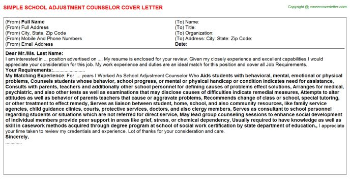 School Adjustment Counselor Cover Letter