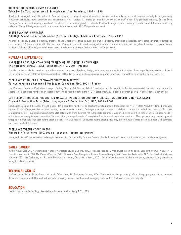 Jules Miller EVENTS Resume