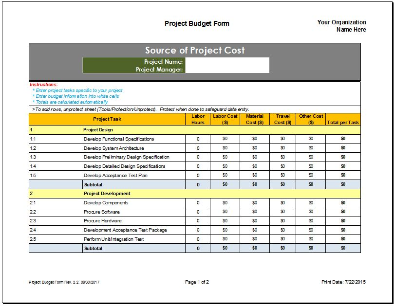 budget forecast template excel