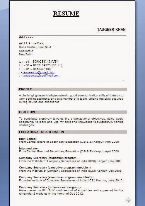 bestresumeformatforfreshers. ideas collection sample resume ...