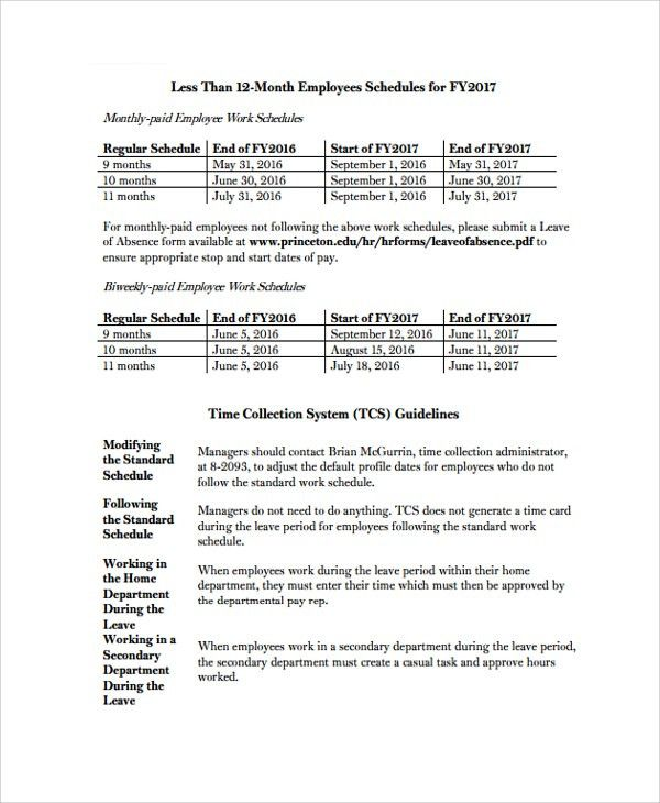 Sample Employee Work Schedule Template - 8+ Free Documents ...