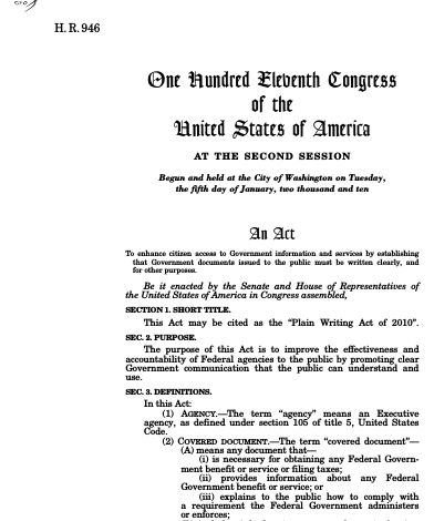 Plain Writing Act of 2010 (2010; 111th Congress H.R. 946 ...