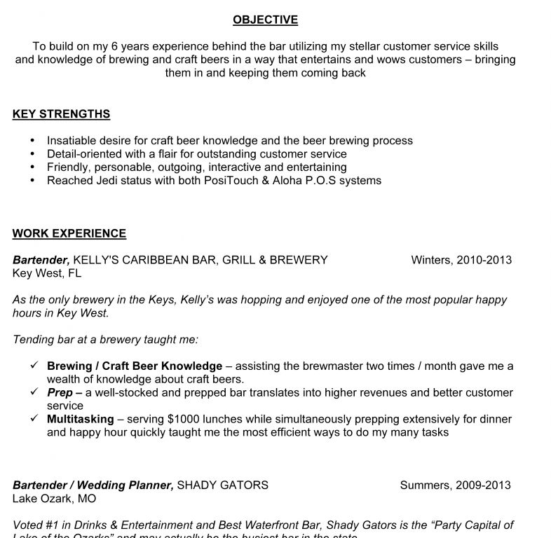 Download Bartender Resume | haadyaooverbayresort.com